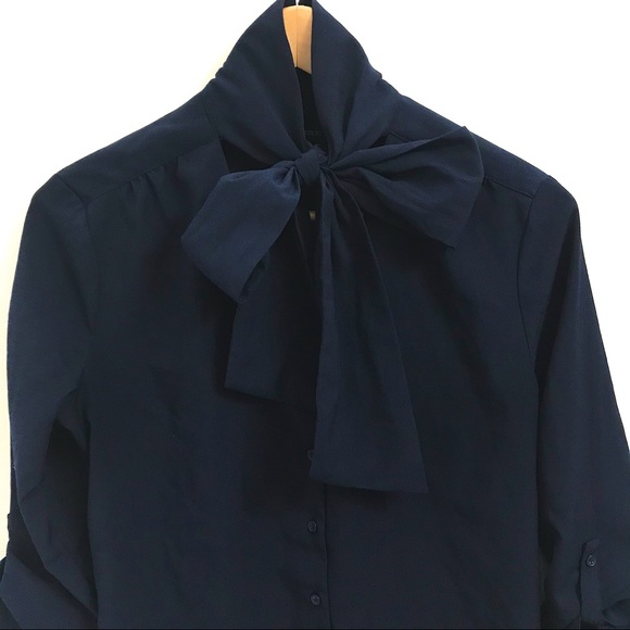Banana Republic - Navy Blouse with Bow - Size S
